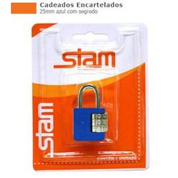 Cadeado Haste Curta      25 mm  Azul  Segredo  [ 90506 ] - Stam