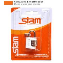 Cadeado Haste Curta      25 mm  Branco  Segredo  [ 90503 ] - Stam