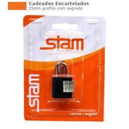 Cadeado Haste Curta      25 mm  Grafite  Segredo  [ 90502 ] - Stam
