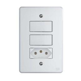 Conjunto 2 Interruptor Simples + 1 Tomada 2P+T 10A Branco Equille [ 14235689 ] - WEG