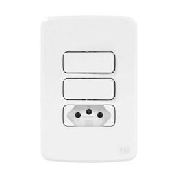 Conjunto 2 Interruptor Simples + 1 Tomada 2P+T 20A Branco Composé [ 13272581 ] - WEG