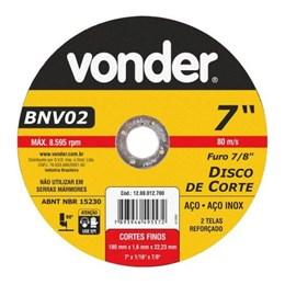 """Disco Corte 7"""" 180 X 22.2 1.6mm 2T Inox [ 1208012700 ] - Vonder"""