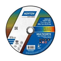 """Disco Corte 7"""" 180 X 22.2 1.6mm 2T Multicorte [ 66252846281 ] - Norton"""