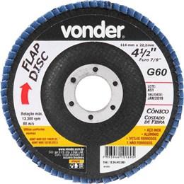 Disco Flap 4.1/2 115 X 22.2  G- 60 Curvo Inox [ 1224412061 ] - Vonder