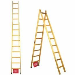 Escada Madeira Pinho de Abrir e Extensível 15 Degraus Santa Catarina