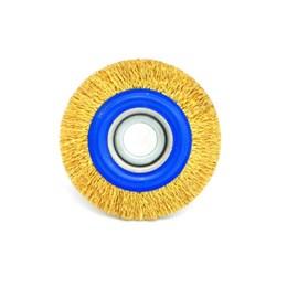 Escova de Aço Rotativa Circular 150x13MM Ondulada Aço Latonado [ 06654 ] - Inebras