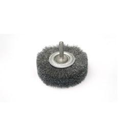 Escova de Aço Rotativa Circular 75x19 Ondulada Aço Carbono com Haste [ 06698 ] - Inebras