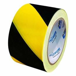 Fita de Sinalização Zebrada Preto/Amarelo 7CM X 200M [ 700.00082 ] - Plastcor