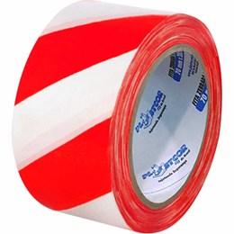 Fita de Sinalização Zebrada Vermelha/Branca 7CM X 100M [ 700.00612 ] - Plastcor