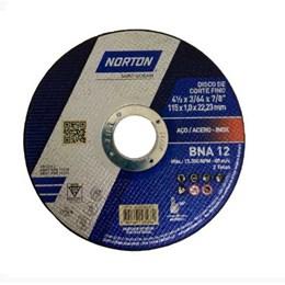 KIT Disco Corte  4.1/2 1.0mm 2T Inox BNA 12 - Norton 25UN