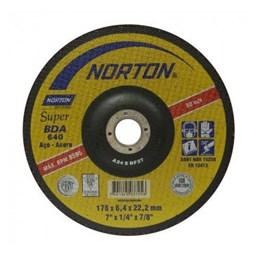 """KIT Disco Desbaste 7"""" 180X22.2 6.4mm Ferro BDA640 Norton 10UN"""
