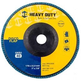 KIT Disco Flap 7 178 X 22.2  G-40 Curvo Inox Heavy Duty 10UN