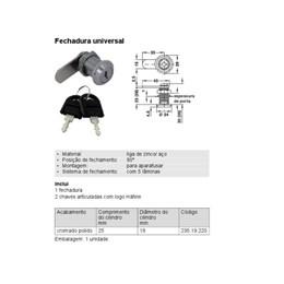 Kit Fechadura para Armário Universal 90 Graus Hafele 10 Uni