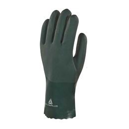 KIT Luva PVC C/Forro Algodão Verde 25CM 20UN Delta Plus