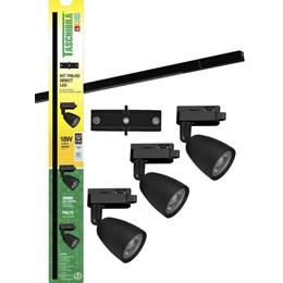 Kit Trilho Elétrico LED com 3 Spots 6W 3000K Preto [ 15090231 ] - Taschibra