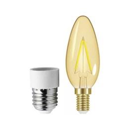 Lâmpada Vintage LED 3W Ambar B35 com Adaptador para E27 [ 11080381 ] (220V) - Taschibra