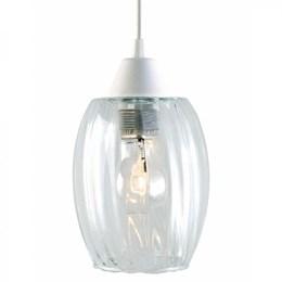 Luminária Pendente Branco Badih Canelado Transparente [ 02110072-01 ] - Taschibra