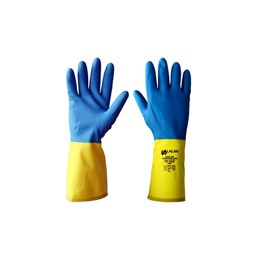 Luva Latex Natural com Revestimento Neopreme Azul/Amarelo Tamanho M [ CA39566 ]- Lalan
