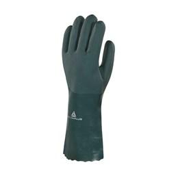 Luva PVC com Forro Algodão Verde Aspera 35CM [ PVCGRIP35VE09 ] - Delta Plus