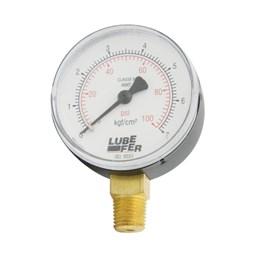 """Manômetro Vertical de 100 Libras 1/4"""" [ LUB-36E ] - Lubefer"""