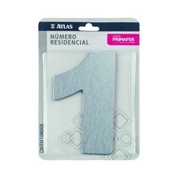 Número Redidência Alumínio Escovado  N 1 [ PR3001/1 ]- Primafer