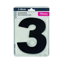Número Redidência Alumínio Preto  N 3 [ PR3000/3 ]- Primafer