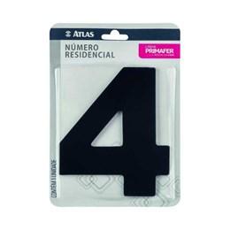 Número Redidência Alumínio Preto  N 4 [ PR3000/4 ]- Primafer