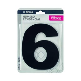 Número Redidência Alumínio Preto  N 6 [ PR3000/6 ]- Primafer