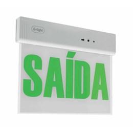 Placa Sinalização Led Verde Saída Face Única [ GL1824-LED-1-65-BRVD ] - G-Light