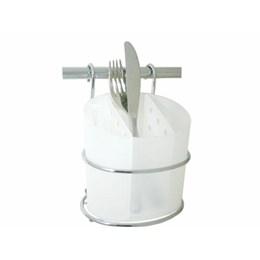 Porta Talheres Aéreo Cromado/Plástico Branco [ 4654 ] - Jomer