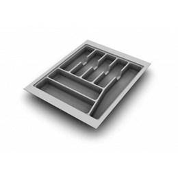 Porta Talheres Plástico 7 Div. 410X480X50mm Cinza Brilho [ 033-CZ ] - Cango