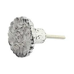 Puxador Botão Flor Metal Branco Ta-138 Venus Victrix