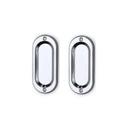 Puxador Concha Sobrepor Médio Ferro 40 X 100mm (Par) Cromado [ 613004 ] - Uniao