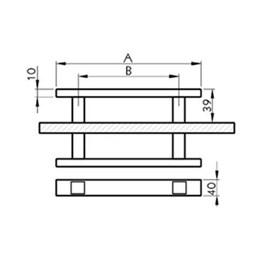Puxador para Porta Duplo 1000MM Planus Eco Inox Escovado [ I049IE ] - Geris