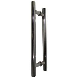 Puxador para Porta Duplo 300mm Tubular Alumínio Polido [ 70012540 ] - Andrade