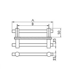 Puxador para Porta Duplo 600MM Verona Inox Escovado [ I682IE ] - Geris