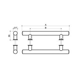 Puxador para Porta Duplo 800MM Tubular Inox Polido [ I042IP ] - Geris