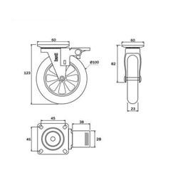 Rodízio Silicone Giratório 100mm Com Freio Placa Transp 76Kg [ 02214CI ] - Hardt