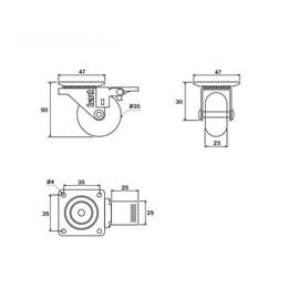 Rodízio Silicone Giratório 35MM com Freio Placa Transparente 32Kg [ 02211CI ] - Hardt