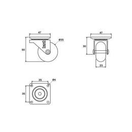 Rodízio Silicone Giratório 35MM sem Freio Placa Transparente 32Kg [ 01211CI ] - Hardt