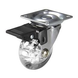 Rodízio Silicone Giratório 50MM com Freio Placa Transparente 40KG [ 02212CI ] - Hardt