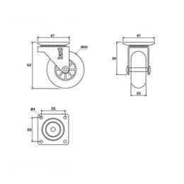 Rodízio Silicone Giratório 50MM sem Freio Placa Transparente 40Kg [ 01212CI ] - Hardt