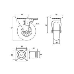 Rodízio Silicone Giratório 75MM com Freio Placa Transparente 64Kg [ 02213CI ] - Hardt