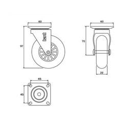 Rodízio Silicone Giratório 75MM sem Freio Placa Transp 64KG [ 01213CI ] - Hardt