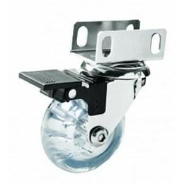 Rodízio Silicone Transparente Giratório 50mm com Freio Perfil U 19 mm [ 06080.0150.01 ] - Soprano