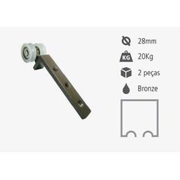 Roldana para Trilho 2 Rold.Nylon Conc Alumínio Bronze 20Kg L Fixa (Par) [ RPLR2-02B ] - Perfil