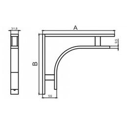 Suporte Prateleira L 40CM Alumínio Polido [ 413-350X400 ] - Base